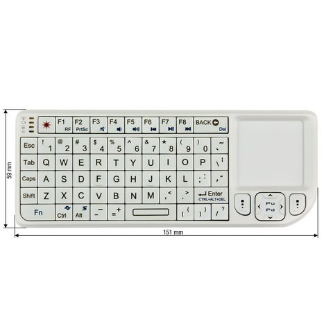 Teclado inalámbrico mini con panel táctil blanco