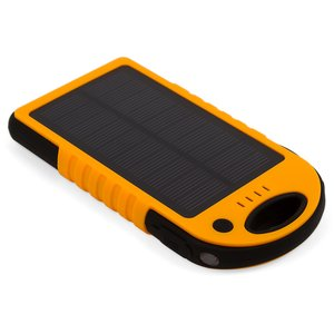 Portable Solar Charger 12000 mAh (2×USB, IP65, orange)