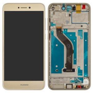 LCD compatible with Huawei P8 Lite (2017), P9 Lite (2017), (golden, with touchscreen, with frame, Original (PRC), PRA-LA1, PRA-LX2, PRA-LX1, PRA-LX3)
