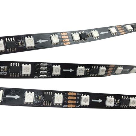 Світлодіодна стрічка RGB SMD5050, WS2818 чорна, з управлінням, IP20, 12 В, 60 діодів м, 5 м